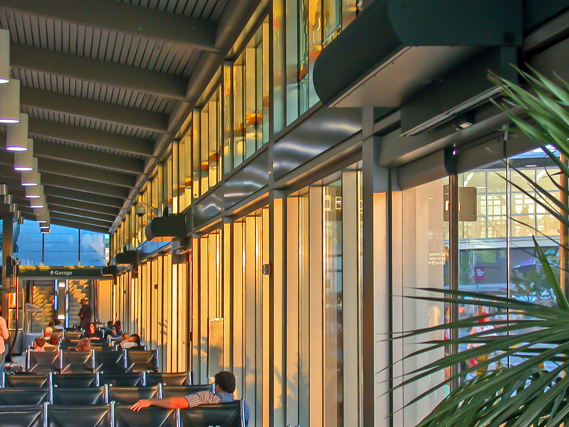 Berner's Architectural High Performance 10 air curtains installed over entrances at Sacramento Airport.