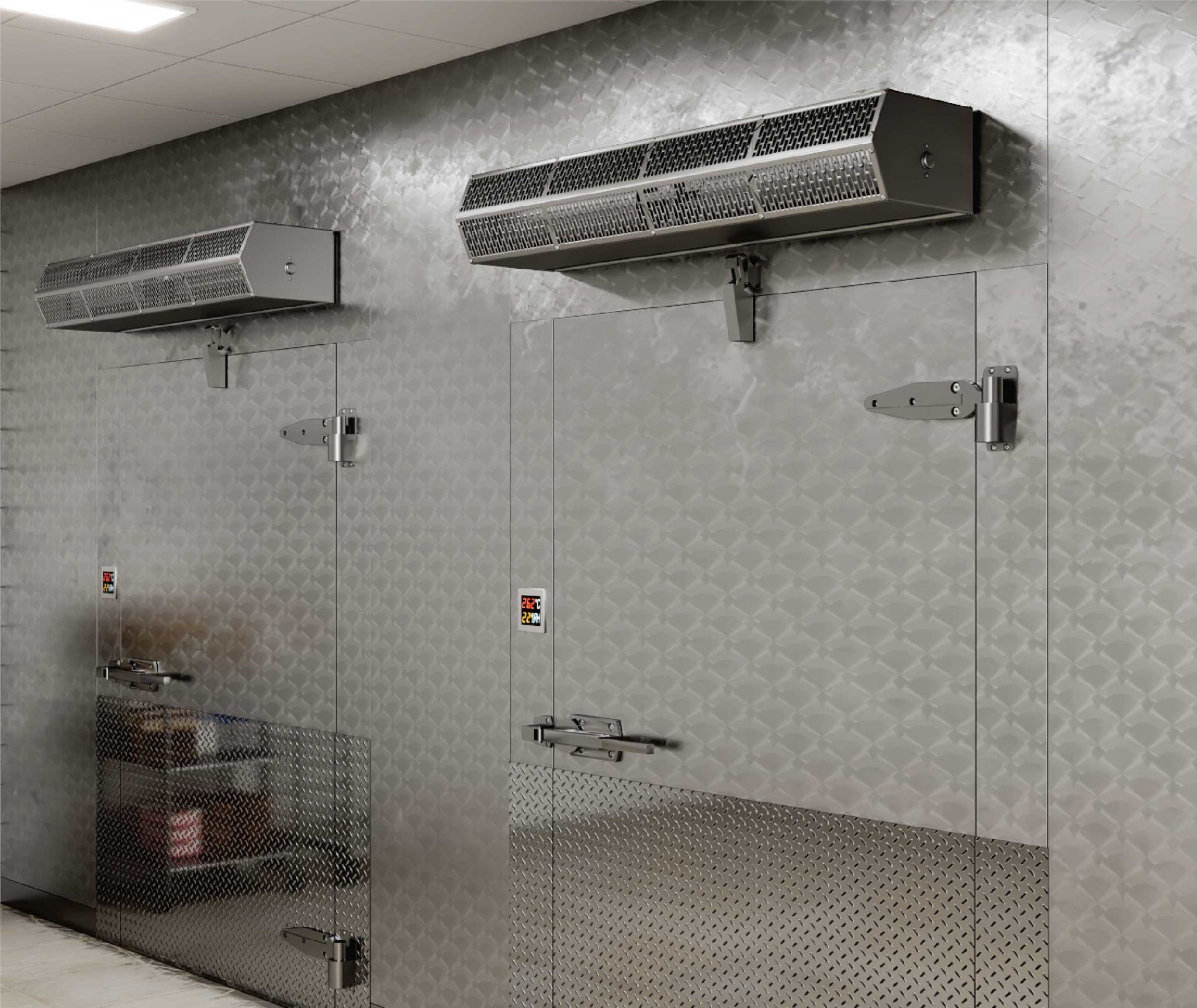 Berner air curtain over cafeteria walk-in cooler.