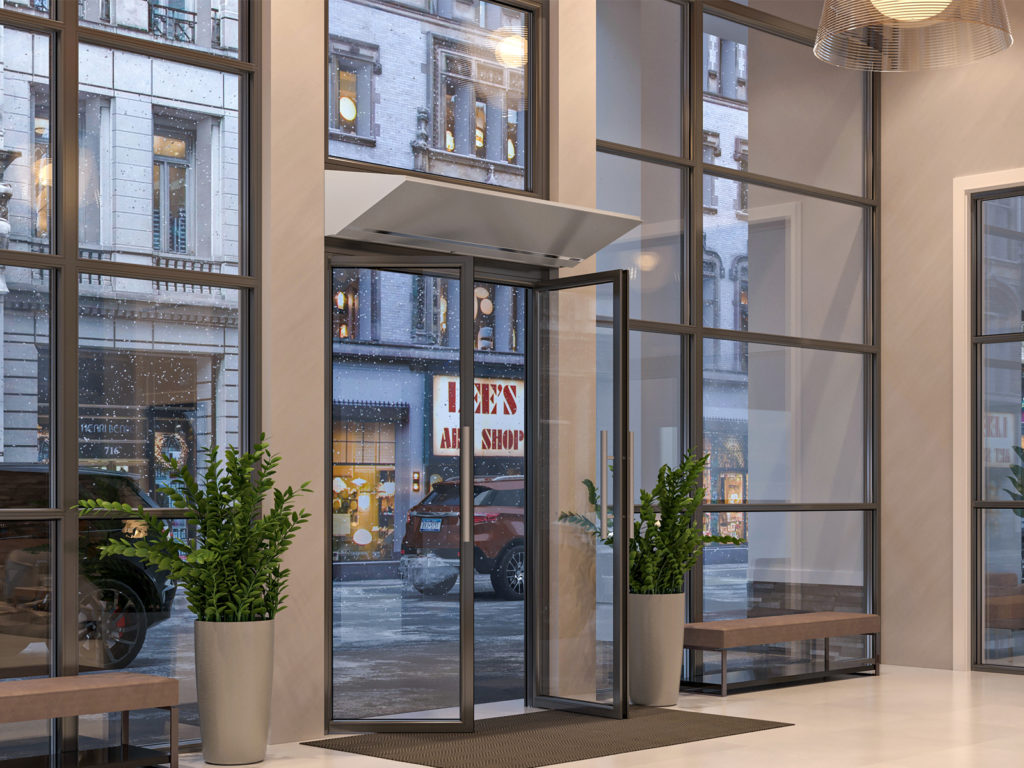 Berner's Architectural Elite 10 air curtain over hotel main entrance.