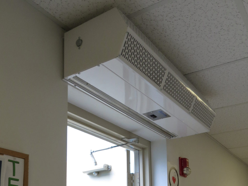 Berner's Commercial Low Profile 8 air curtain over employee entrance.